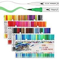 Rotuladores de doble punta de Magicfly en 100 colores de agua, una punta tipo pincel (1-2 mm) y una punta fina (0,4 mm), para niños y adultos