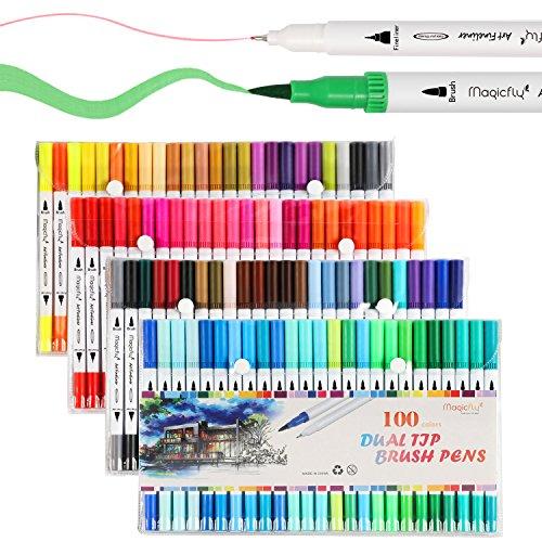 Magicfly Feutres Coloriage Marqueurs Peinture 100 Couleurs Double Pointe Fine et Medium Pinceau Aquarelle Stylos à Brosse Dessin Professionnel pour Adultes Enfants