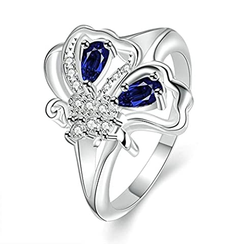 Epinki Womens Silver Plated Wedding Bands Butterfly Blue Zircon Size P 1/2 Blue Silver Ring-Free