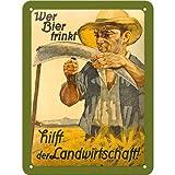 Nostalgic-Art 26128 Open Bar - Wer Bier trinkt hilft der Landwirtschaft, Blechschild 15x20 cm