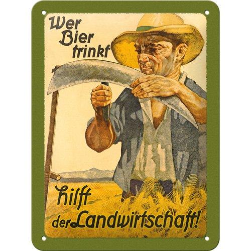 Nostalgic-Art 26128 Open Bar - Wer Bier trinkt hilft der Landwirtschaft, Blechschild 15x20 cm -