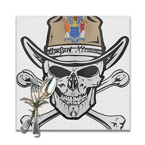 best gift Placemats for Dining Table,Skull of New Jersey Non-Slip Insulation Placemat Washable PVC Polyester for Kitchen Banquet Party,Set of 6, 12x12 inch (Halloween-partys In New Jersey)