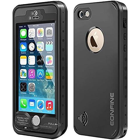 iPhone 5 5s caja estanca, Eonfine impermeables subacuáticos 6.6 pies Snowproof hermético al polvo a prueba de golpes Caso IP68 Certificado Compatible con reconocimiento de la huella táctil Identificación para el iPhone 5 5s