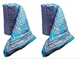 #9: Anokha Rajasthan World Famous Light Weight Pure Cotton Jaipuri/Rajasthani Print Light firoji Colour Reversible Single Bed Quilt/Razai/Rajai/dohar/ac Blanket/falalen/firoji rajai Set of 2 rajai