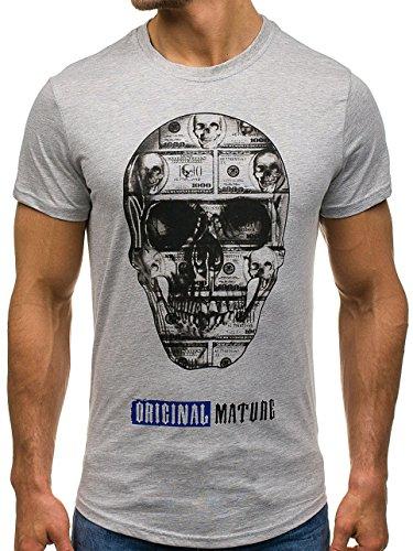 BOLF Herren T-Shirt Tee Kurzarm Rundhals Classic Aufdruck Print Motiv MIX Grau_S086