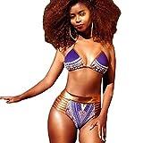 QingJiu Frauen African Print Bikini Set Bademode Push-Up Gepolsterter BH-Badeanzug Beachwear