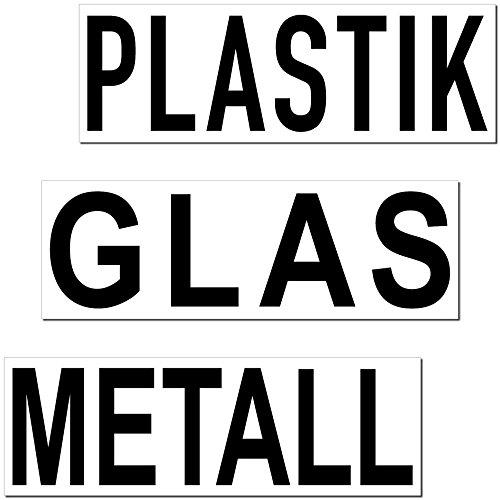 GreenIT Aufkleber Sticker 20cm Mülltrennung Papier Restmüll Plastik Bio Mülleimer Mülltonne Müll Kontainer Tonne Hinweis (Plastik Glas Metall)