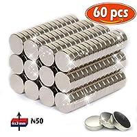 Aimant de néodyme 6 mm de diamètre x 3 mm d'épaisseur Traction Puissante pour Tableaux Blancs, Réfrigérateur, Tableau Magnétique 60 pièce