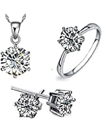 19 Likes Trendy Fashion Silver Metal Alloy Jewellery Set With Necklace And Earring For Girls