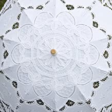 Gazechimp Paraguas Sombrillas Manuales Encaje Estilo Europeo Algodón Decoración para Boda Nupcial Fiesta Blanco