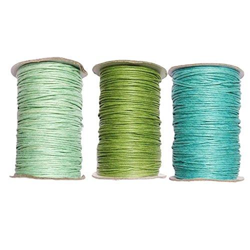MagiDeal Baumwollschnur Gewachst 1,5 MM 3 Rollen Wachsschnur Schmuckband Bastelschnur Baumwollband Baumwollkordel für Schmuck Perlen Handwerk - Farbe 8
