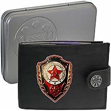Soviet Badge USSR Insigne soviétique URSS Klassek Portefeuille Homme Porte Monnaie Russie URSS Cuir Noir Véritable Cadeau Présente en boîte métallique
