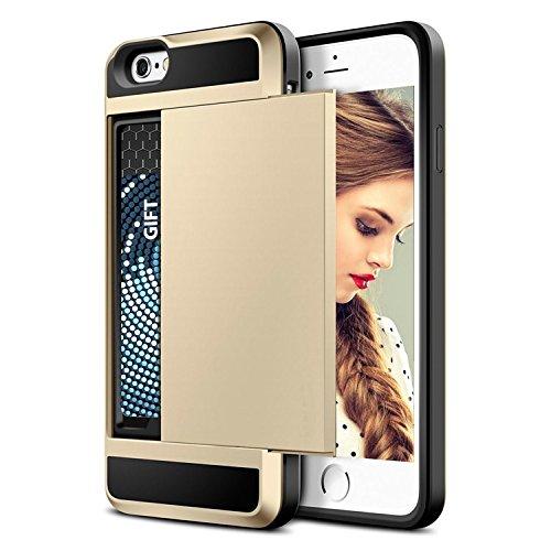 iPhone 7cover case, iPhone 8Leather case, Ipro Accessories® [card Holder] iPhone 7/8custodia a portafoglio con porta carte, copertura (iPhone 7e iPhone 8case) GOLD