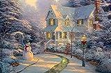 Große Fest leuchten LED-Leinwandbild Schneemann Winterschneeszene