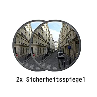 Ectxo 2x Konvexspiegel 30 cm Sicherheitsspiegel 130 Grad Außenspiegel innen außen Panoramaspiegel Garage Spiegel