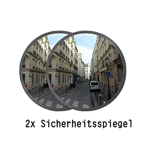 Ectxo, 2specchi convessi di sicurezza, 30cm, 130gradi, per esterno ed interno, specchio per garage