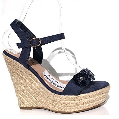 Trendige Damen Riemchen Keil Sandaletten Pumps Keilabsatz Wedges Keilpumps High Heels Peep Toes Schuhe Bequem KA3 Blau