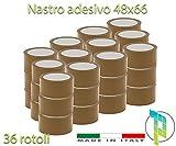 Palucart® 36 pezzi rotoli nastro adesivo 50x66 SILENZIOSO per imballaggio colore AVANA