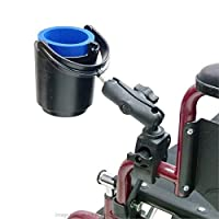 Wheelchair Rail and Tube Mount with Self Leveling Drink Cup Holder