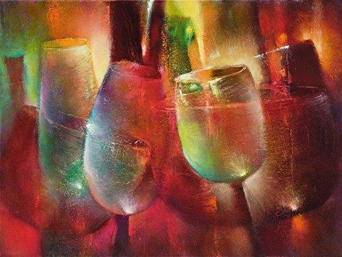 Spirituosen-kunst-plakat (Artland Wandbilder selbstklebend aus Vliesstoff oder Vinyl-Folie Annette Schmucker Zu später Stunde II Ernährung & Genuss Getränke Spirituosen Malerei Bunt)