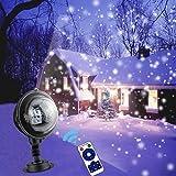 LED Lichteffekte Party Aussen Garten Projektor Schneefall Projektionslampe 180° Drehbares Wasserdicht Partylicht mit Fernbedienung für Hochzeit, Valentinstag, Kinder
