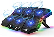 12-Mode RGB Laptop Cooling Pad LED Screen Gaming Laptop Cooler with 6 High-Speed Adjustable Fans, 7 Heights St