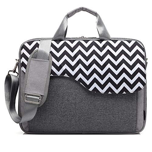 CoolBell 15,6 Zoll Laptop Tasche Nylon Schultertasche mehrfach Abteil Messenger Bag Handtasche Aktentasche Businesstasche Notebooktasche für Laptop/Tablet / MacBook,Grau-Welle -