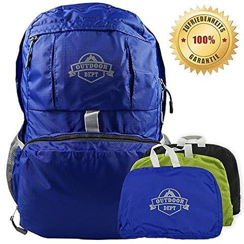 Faltbarer Rucksack nur 250 Gramm leicht, Reiserucksack, Tagesrucksack oder Handgepäck, 25 Liter mit Trillerpfeife und Brustgurt in verschiedenen Farben