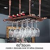 Decken-Wand-justierbares Metallwein-Gestell-hängendes angebrachtes hängendes Glas-u. Flaschen-Halter-Bar-industrielle Art (Farbe : Bronze, größe : 60CM*30CM)