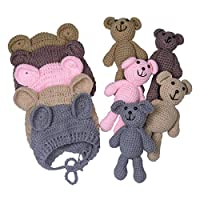 EUDORA Newborn Baby Bear Doll Beanie Hat for Infant Photography Props Knitting Crochet Outfit Khaki