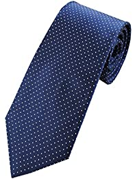 Collar and Cuffs London - High Quality Handmade Tie - 100% Pure Silk - Luxury Fashion Navy Blue With White Dot Pattern