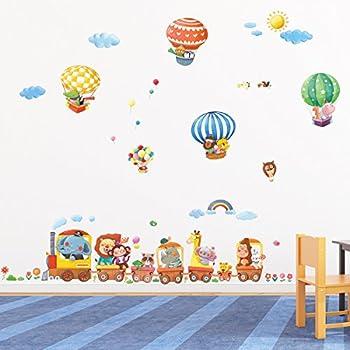 Decowall DA-1406 Train Animaux et Montgolfières Autocollants Muraux Mural Stickers Chambre Enfants Bébé Garderie Salon