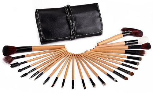 Glow 24 Pcs Maquillage Pinceau Professionnelle en Bois de Qualité en Etui en Cuir