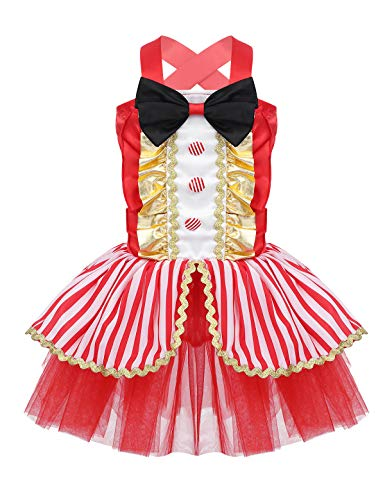 Kostüm Kleinkind Zirkusdirektor - inlzdz Mädchen Halloween Outfits Kleinkind Zirkusdirektor Kostüm Rot Prinzessin Tutu Kleid mit Fliege Partykleid Karneval Fasching Verkleidung Gr. 80-104 Rot 98-104