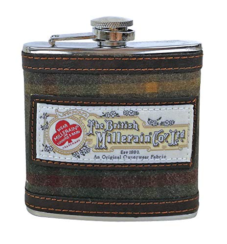 Herren Edelstahl, 170 ml gemustert Flachmann in Geschenkbox in 4 Ausführungen inkl. Harris Tweed, stahl, Vintage Brown 7036, 6 oz - Vintage Harris Tweed