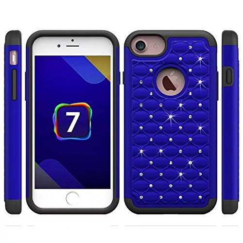 iPhone 7 Plus hülle,Lantier Luxus verzierte Strass Kristallbling [Thin Fit][Tropfen Schutz] Hybrid Dual Layer Rüstung Defender Case für Apple iPhone 7 Plus (5.5inch) 2016 Gelb+Schwarz Cute Rhinestone Blue + Black