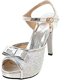 9a0b6178f8e4fc AIYOUMEI Damen Glitzer Peep Toe Knöchelriemchen Sandalen mit Schleife  Stiletto High Heels Sommer Süß Schuhe