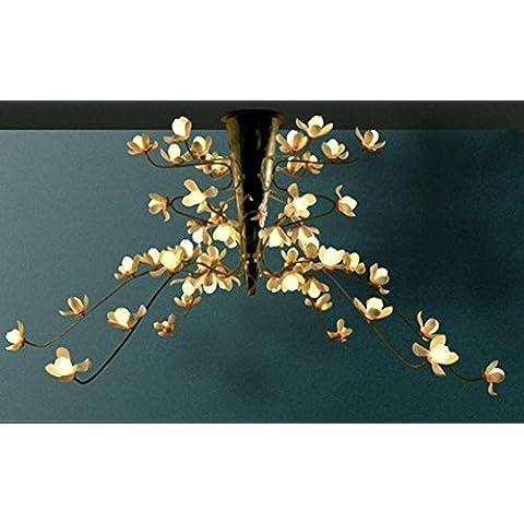 FWEF Resina Grabado Araña De Diseño Original Led Magnolia Vestíbulo Del Hotel Club Flor Araña Lámparas Antiguas . D