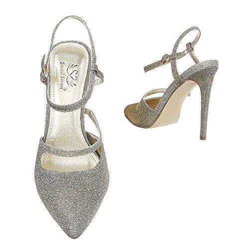 Ital-Design , chaussures compensées femme Gold Grau