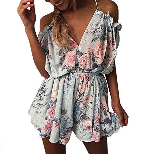 Yidarton Women's Sleeveless Off Shoulder Playsuit Strap Floral Mini Summer Jumpsuits (L)