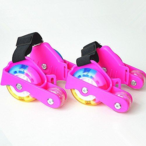 Da Jia Inc aufgerüstet 4 Räder Heel Wheels Rolls Funrollers Mit 3 LED Blinklicht PVC Flashing Heelys Verstellbare Flash Roller Easy-on Heel Skates bis 55kg Koerpergewicht Pink