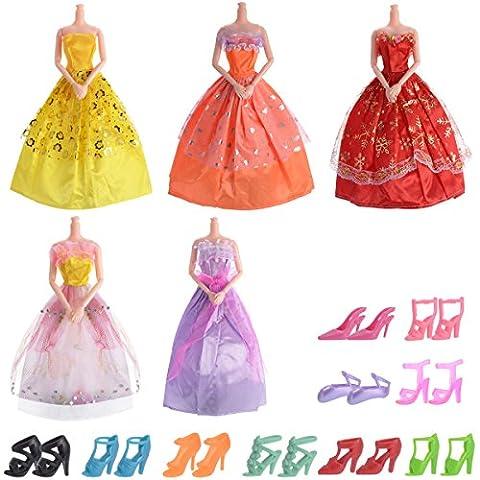 15PCS Poupée Barbie Accessoires = 5 Robes Vêtements et 10