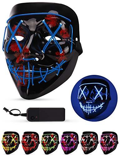 Halloween Kostüm Zusammen - AnanBros Halloween Maske, LED Purge Maske im Dunkeln Leuchtend, Halloween Purge Maske 3 Beleuchtungsmodi für Kostümspiele Cosplays Feste und Partys - Blau