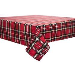Mantel, Mantel, Camino de mesa, servilletas, diseño escocés, Navidad 80x 80cm Rojo