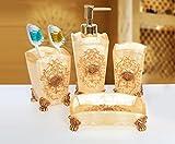 #3: Sterling SMS-069 Natural Stone Finish Golden Print Polyresign 4 Pieces Bathroom Set-Liquid Soap Dispenser, Toothbrush Holder, Tumbler & Soap Dish holder