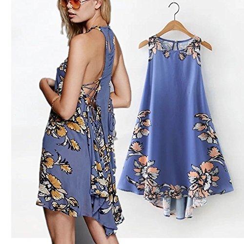 YLSZ-Stamp Back Strap Skirt Western Style Sleeveless Dresses Women, Blue S Blue L