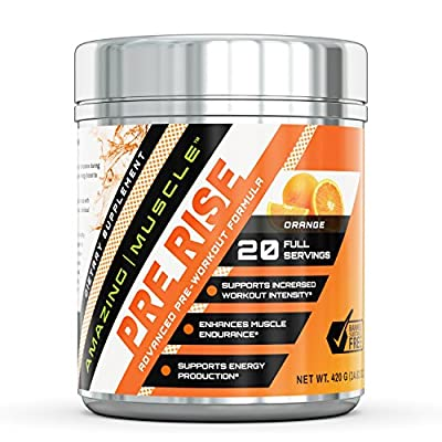 Amazing Muscle?–?PRE-RISE-Advance?Pre-Workout?Formula?with BCAAs, Creatine HCL and more?– Caffeine-FREE - Promotes Energy for an Intense Workout - Supports Enhanced Muscle, Focus and Growth*?– 400 grams container from Amazing Nutrition