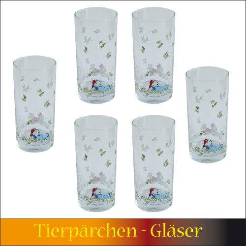 Gläser 6 Stück, Trinkglas, Longdrinkglas, Glas Tierpaar, Tierpärchen, Maulwurf, Hamster, Maus, Blumenglas, Kinder, Mädchen, Jungs, Kinderglas