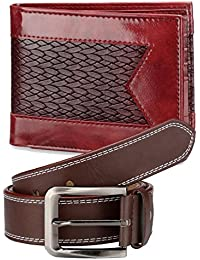 TSX-Men's Genuine Pu-Leather Black/Brown Look Casual And Formal Branded Gift Belts And Wallet Combo Pack For Men...