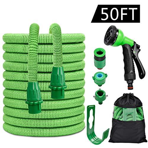 Manguera de Jardín,Manguera de Jardín Extensible 50FT/ 15M,Manguera Flexible,Pistola de 8 Patrones de Pulverización